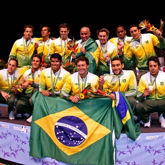 Rio de Janeiro, 26/07/07 Jogos Pan-Americanos Rio 2007 Parque Aquatico Julio de Lamare Polo Aquatico Brasil 02 x 09 EUA Brasil medalha de prata Foto: Satiro Sodré - Divulgacao CBDA